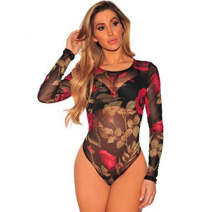HAMBELELA 2017 New Arrival Women Sexy Floral Printed Bodysuit See Through Jumpsuit Long Sleeve Retro Mesh Bodysuit Women Rompers-cigauy