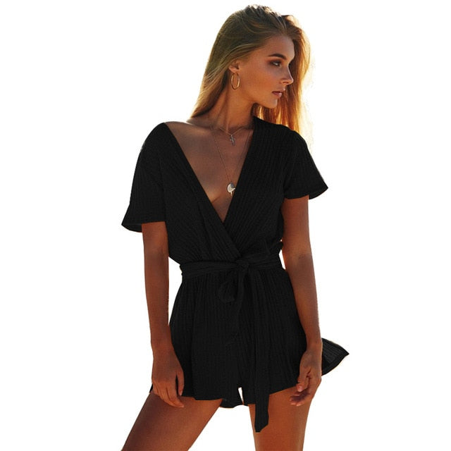 ELSVIOS Sexy Deep V Neck Knitted Autumn Jumpsuits Rompers Women Short Sleeve Sashes Overalls Casual Slim Bodycon Beach Playsuits-cigauy