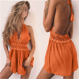 Women Clothing Backless Lace Sexy Tassel Solid Sleeveless Playsuit Bodycon Jumpsuit Romper Trouser macacao feminino-cigauy