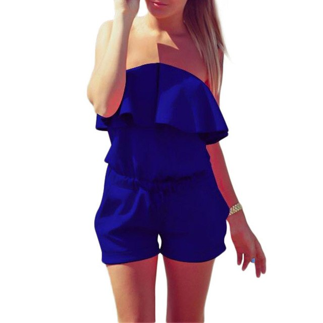 Avodovama M Women Jumpsuit 2017 Summer Fashion Casual Ruffles Strapless Rompers Bodysuit Blue White Pink-cigauy