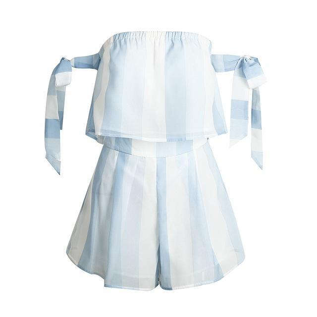 BerryGo Organza blue striped bow sleeve jumpsuits romper Women off shoulder summer beach overalls Casual two-piece playsuit-cigauy