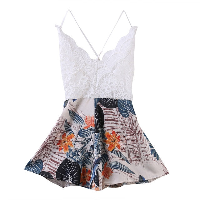 2017 Women Summer fashion floral print Playsuit ladies casual spaghetti strap backless cross lace patchwork sexy playsuit romper-cigauy