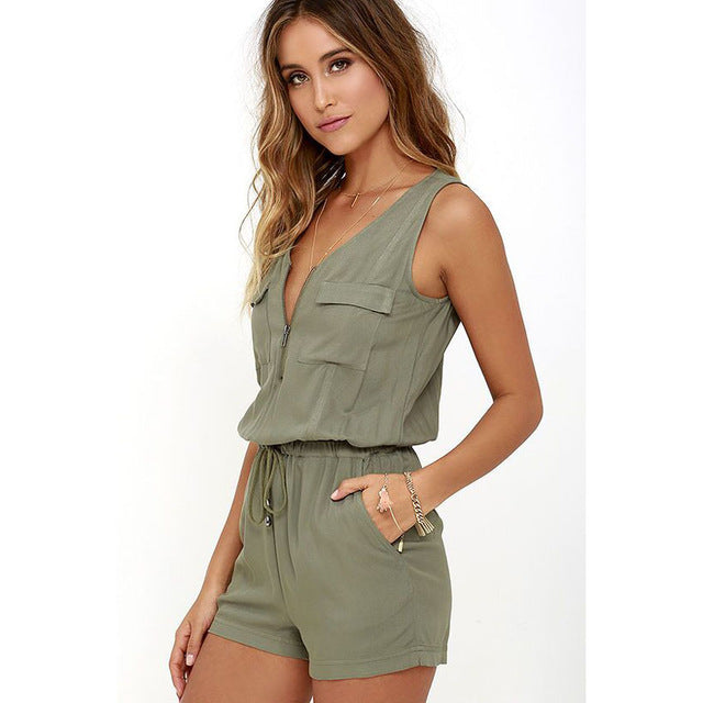 Sexy Sleeveless jumpsuit shorts romper summer women V-neck zipper pockets jumpsuit lady Fashion beach coveralls female frock-cigauy