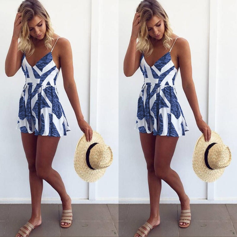 Sleeveless Summer Lace Up Jumpsuit Sexy Women Floral Printing Backless Club Wear Deep V Neck Evening Party Playsuit Clothes-cigauy