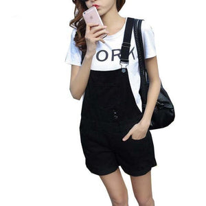 EXOTAO College Wind Summer Denim Bodysuit Shorts Slim Straps Loose Plus Size Jumpsuit Casual Vintage White Black Pink Overalls-cigauy