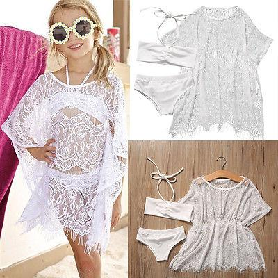 Kids Baby Girl Halter Tops Bottom Bikini Set Lace Cover Up 3pcs Swimsuit Bathing Suit Swimwear Cosutme White Swim Beachear 1-6Y-cigauy