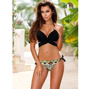 Sporlike Push Up Bikini 2017 Cross Stripe Women Swimwear Swimsuit Halter Top Print Maillot De Bain Biquini Bathing Suits XXL-cigauy
