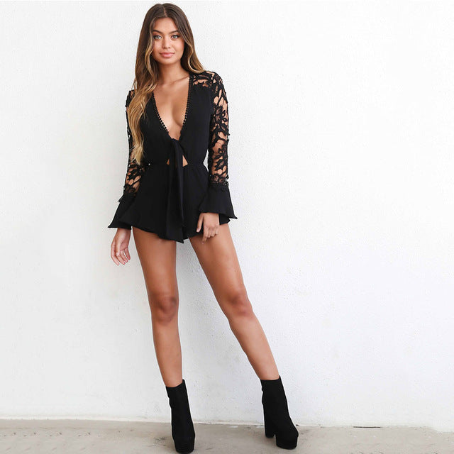 2017 Women Playsuits Sunmer Sexy Elegant Lace Overall Long Sleeve Chiffon Tie up V-neck Rompers Women Jumpsuit Combinaison Femme-cigauy
