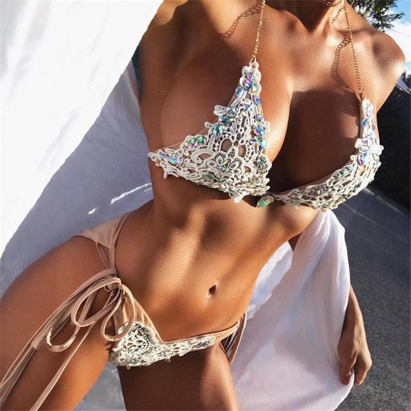 lace bikini Diamond Swimsuit Crystal women swimwear nude bikinis brazilian rhinestone beachwear push up bikini 2018 lace biquini-cigauy
