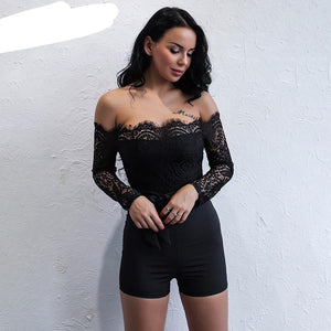 Yissang Lace Off Shoulder Sexy Women Playsuits Autumn Hollow Out Short Party Playsuit Lady Long Sleeve Overalls Short Jumpsuits-cigauy