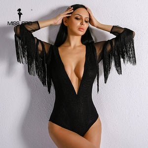 Missord 2017 Sexy Deep V Women Tassel Playsuit Long Sleeve Black Color Bodysuit FT8917-cigauy