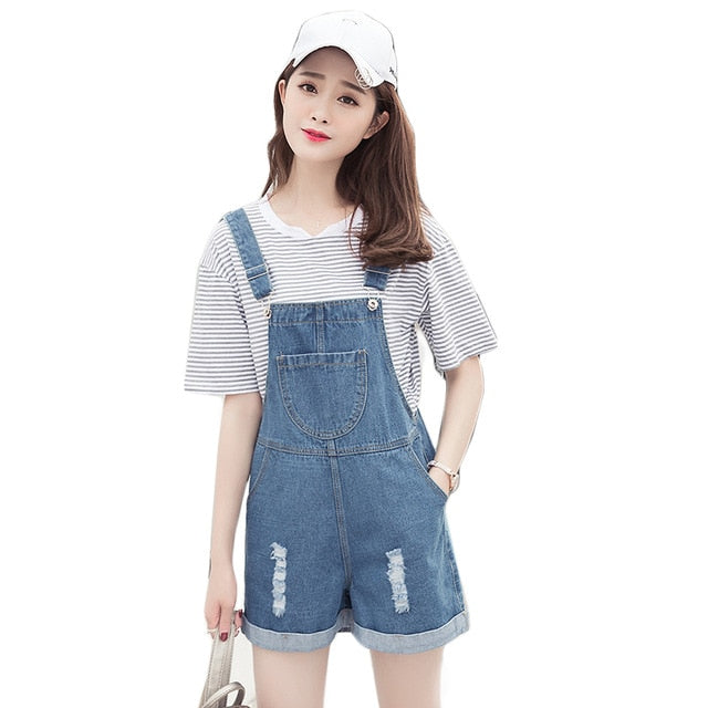 EXOTAO Distressed Overall Shorts For Women Summer 2017 New Fashion Casual Loose Chest Pocket Women Denim Bib Overalls Dungarees-cigauy