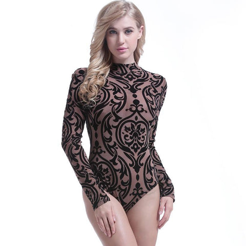 5a6ebc3a28 Ziamonga Women Shorts Rompers 2018 Elegant Sexy Printed One Piece Bodycon  Bodysuit Body Femme Manche Longue
