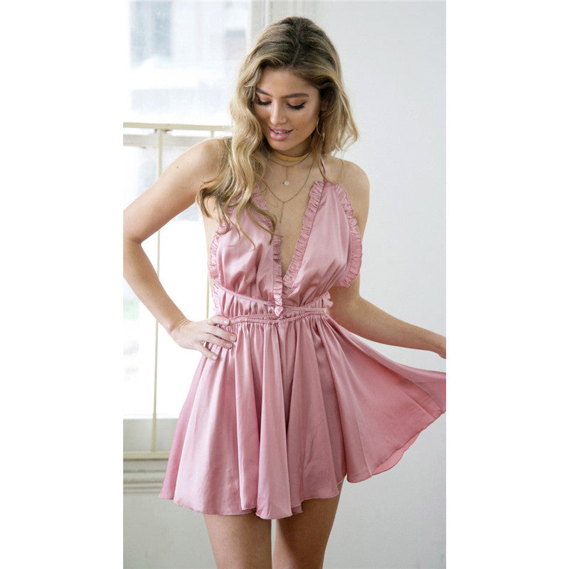 Hot fashion women sexy summer playsuit clothings sleeveless backless solid loose v-neck slim playsuit overalls-cigauy