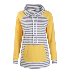 Hoodies Women Autumn Long Sleeve Sweatshirt Women Fashion Stripe Print Pullover Femme Casual Hooded Tops WS3781C-cigauy