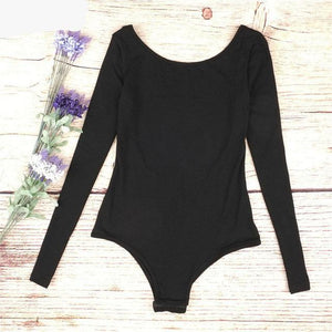 2017 Sexy backless V-Neck Bodysuit Women Ladies Bodycon Black Long Sleeve Combinaison Skinny Body suit-cigauy