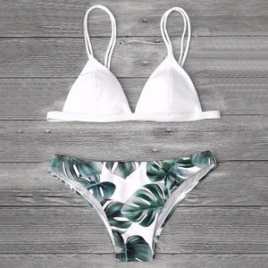 Newest Women Swimwear Sexy Triangle Bikini Set Leaf Printed Bathing Suit Swimming Suit Brazilian Biquini Two Pieces Swimsuit-cigauy
