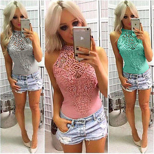 Sexy Fashion Hot Ladies Women Sleeveless Bodysuit Lace Halter Solid Playsuit Romper Leotard Body Tops Jumpsuit Clubwear Hot Sell-cigauy