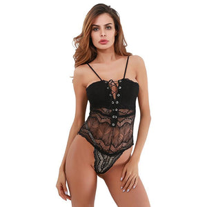 Cryptographic transparent lace bodysuit women tie up body sexy 2017 rompers womens jumpsuit bodysuits top strap catsuit playsuit-cigauy