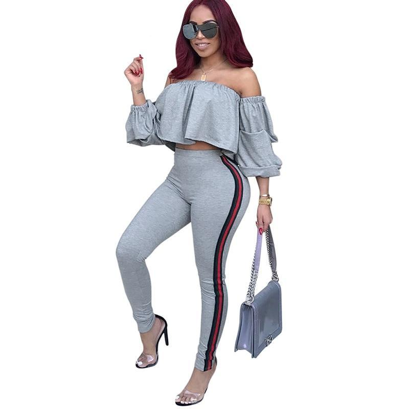 Boayours Autumn Stacked Sleeve Sexy Tops Women Two Piece Bodycon Jumpsuit Casual Ladies Long Trousers Playsuit Overalls-cigauy
