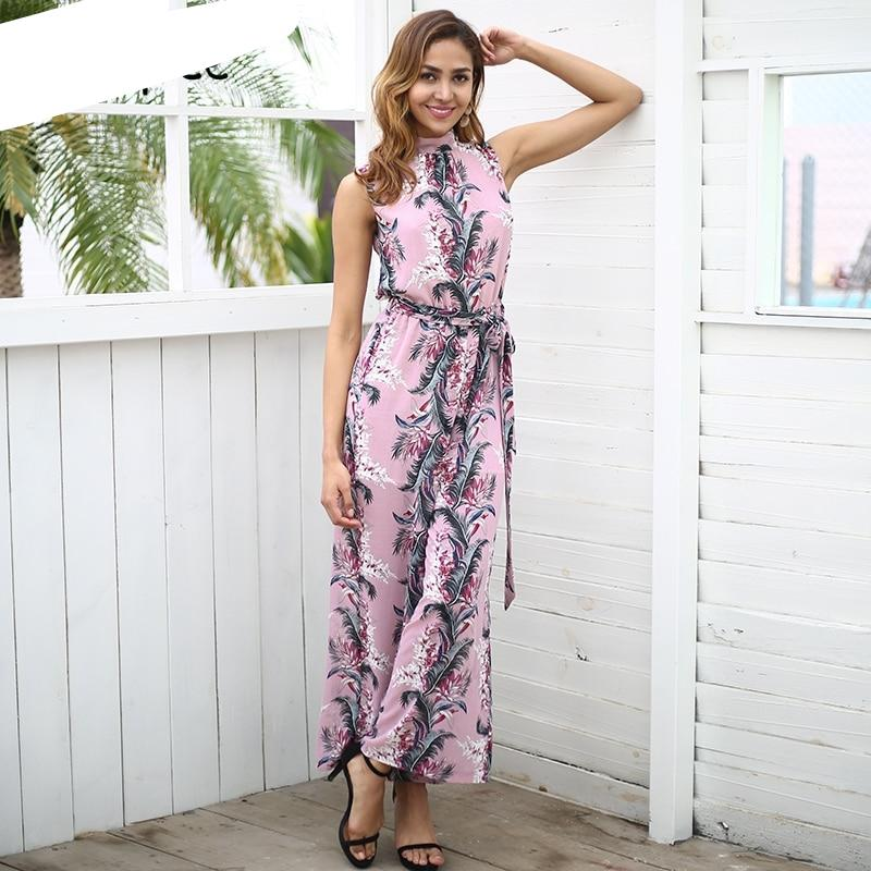 Simplee Backless boho print long jumpsuit romper women High waist loose casual overalls 2018 spring streetwear playsuit female-cigauy