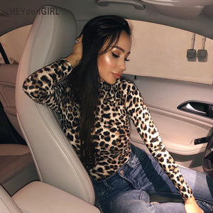HEYounGIRL Leopard Bodysuit for Women Sexy Bodycon Skinny Body Suit Turtleneck Long Sleeve Playsuit Printed Romper Jumpsuits-cigauy