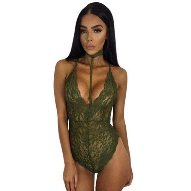 Dreszdi 2017 Cute Choker Neck See Through Lace Bodysuit Women Sexy Body Club Wear Bodycon Rompers Overalls-cigauy