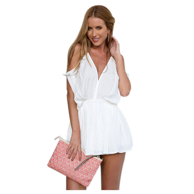 New Summer Sexy Strap V Neck Cold Shoulder Jumpsuit Romper Women Backless Tie Back Playsuits Lace Up Beach Overalls(Black,White)-cigauy