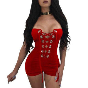 RLMABABY Off Shoulder Romper Womens Jumpsuit Sexy Strapless Eyelets Bandage Bodysuit Playsuit Club Party combinaison short femme-cigauy