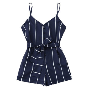 AZULINA Women Playsuits Striped Belted Spaghetti Strap Romper Casual Beach Girls Clothes Short Jumpsuits Women'S Clothing S-XL-cigauy