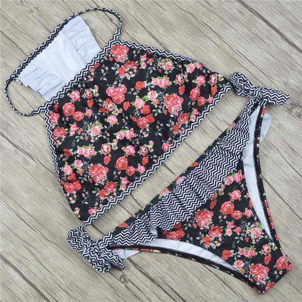 Floral 2018 Sexy Bikini Set May Bather Women Swimsuit Push Up Swimwear Female Halter Top Ruffle Brazilian Bikini Beach Biquine-cigauy