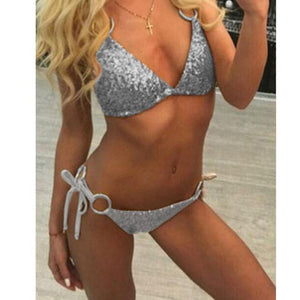 vertvie 2018 New Arrival Sexy Shiny Sequins Bikini Thong Set Women's Swimsuit Bandeau Swimwear Plus Size Brazilian Biquini Women-cigauy
