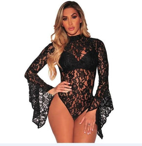 Hambelela Spring Combinaison Femme Black White Sheer Floral Lace Bodysuit Bell Sleeve Turtleneck Bodysuit Long Sleeve Body Mujer-cigauy