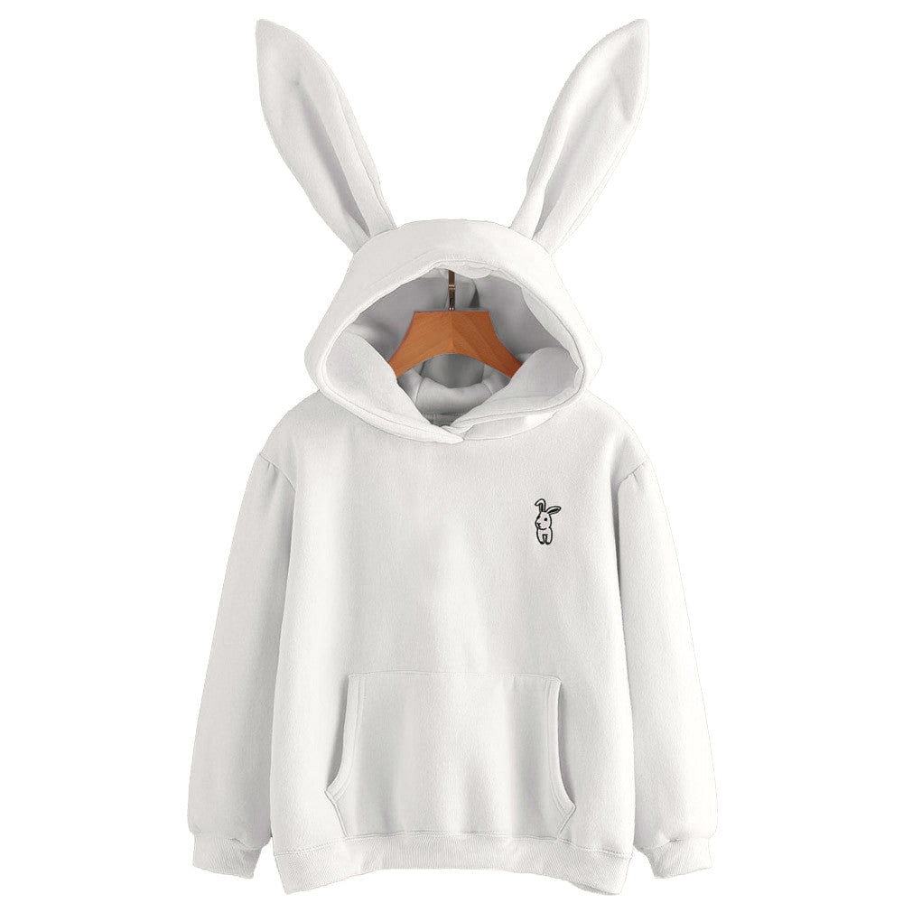 Lovely Rabbit Hoodie White Ears Harajuku Kawaii Sweatshirts Hoodies For Women Loose Streetwear Women Clothes #121-cigauy