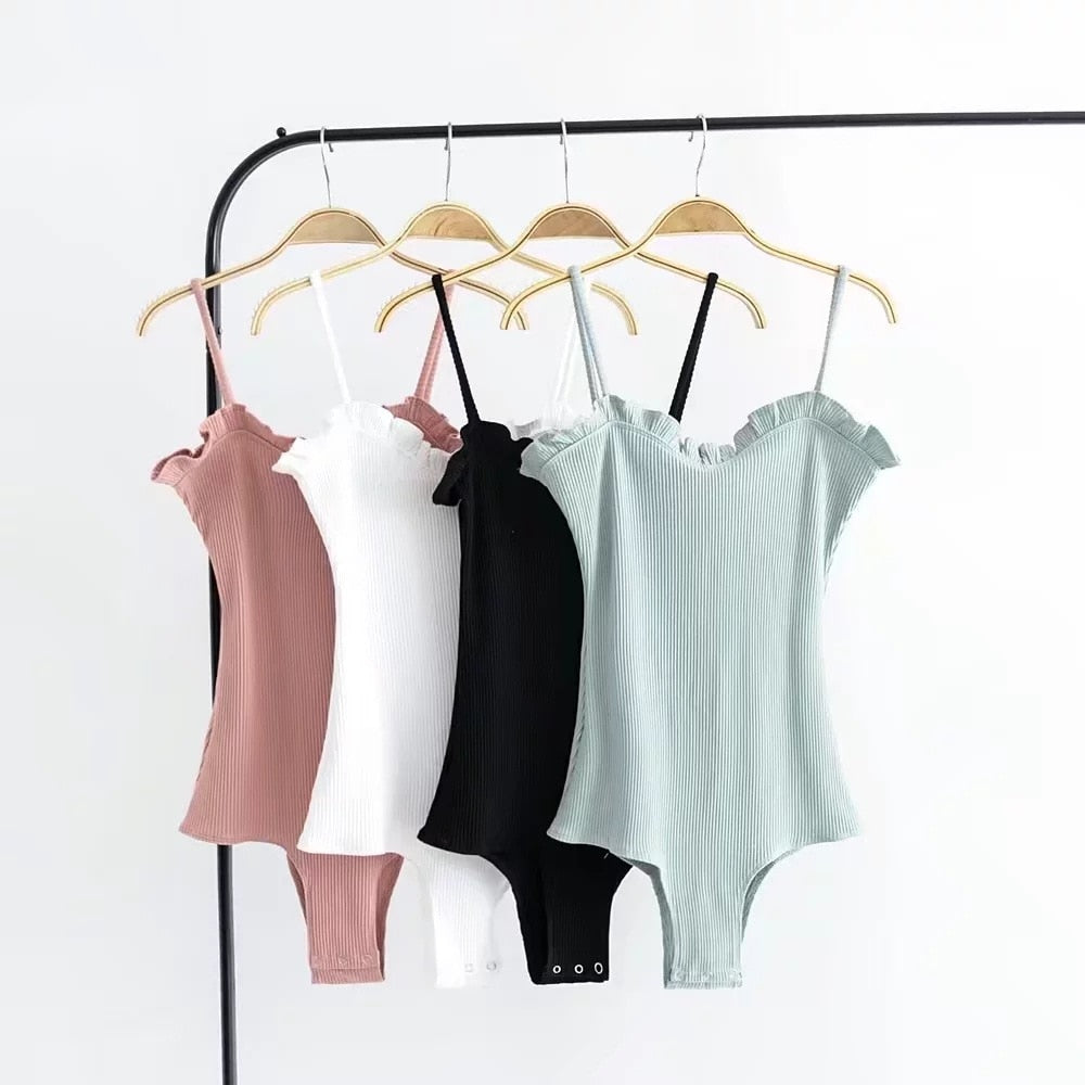 Spaghetti Strap Ruffles Bodysuit Leotard Sexy Women Jumpsuit Tank Top Body Suit One Piece Camisole-cigauy