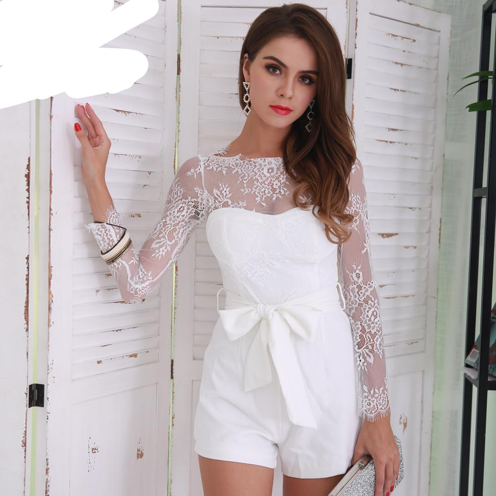 Missord 2018 Summer Sexy Long Sleeve Bow Women Solid Color Elegant Playsuit FT8483-cigauy