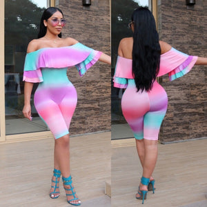 VAZN 2017 New Arrival High Fashion Bodycon Rompers Short Sleeve Print Rompers Sexy Strapless Knee Length Jumpsuit H9278-cigauy