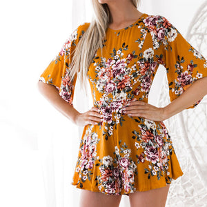 Women Overalls Elegant Print Sexy Jumpsuit Female Romper Elastic Waist Floral Half Sleeve Beach Playsuits Casual Party GV417-cigauy