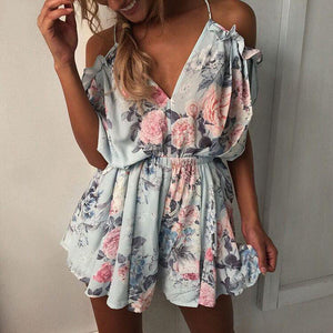 Floral printed Summer Playsuits Beach Women Jumpsuit Shorts Ruffles 2018 Boho Rompers Sexy V Neck Backless Casual Overalls GV643-cigauy