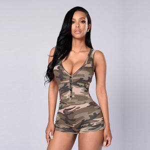 2017 Women Sexy V-neck Sleeveless Jumpsuit ruffles Bodysuit casual Womens romper Camoflage color Summer shorts beach playsuit-cigauy