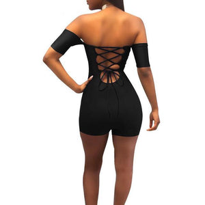 Wantmove women sexy off shoulder lace up bodycon rompers womens jumpsuit 2018 summer club party shorts bodysuit romper JZ071-cigauy