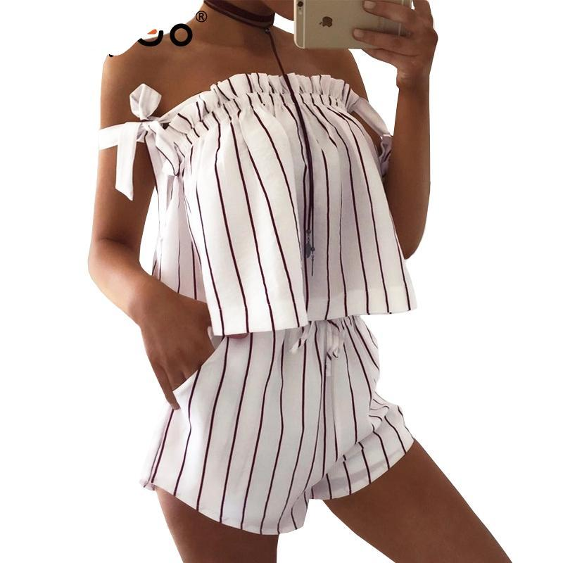 BerryGo Off shoulder stripe elegant jumpsuit romper White strap backless bow overalls Sexy summer beach playsuit women outfit-cigauy