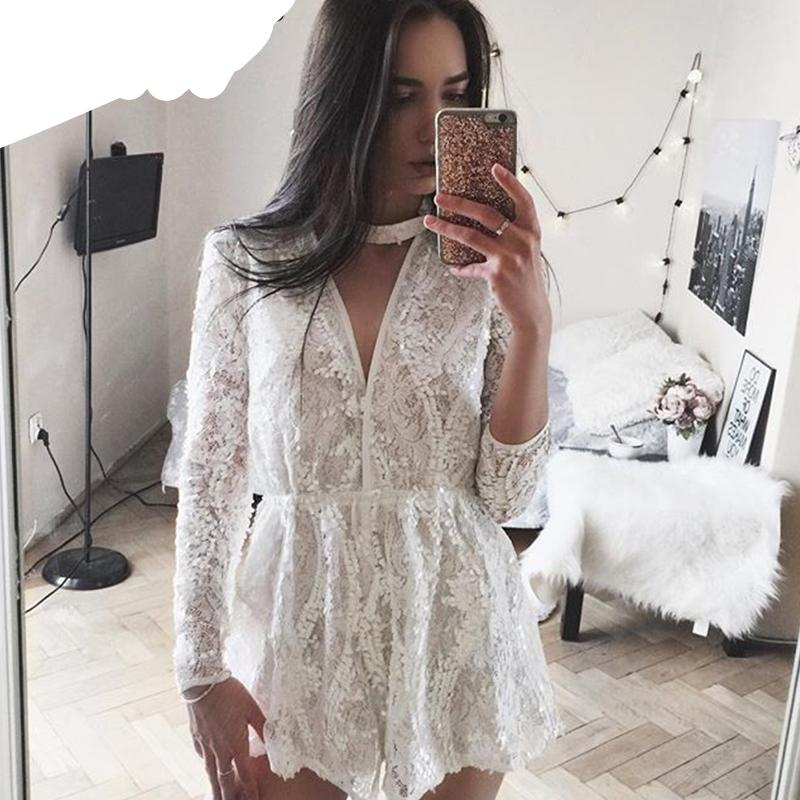 BerryGo Halter white lace sequined jumpsuit romper Summer 2017 beach playsuit Women sexy deep v neck long sleeve overalls-cigauy
