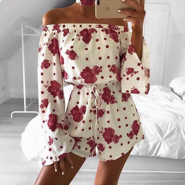 ELSVIOS 2018 New Spring Summer Floral Print Rompers Jumpsuits women Sexy off shoulder Overalls lady Casual boho Beach Playsuits-cigauy