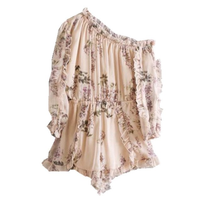 Sexy Ruffles Wood ears Floral Print Single Shoulder Jumpsuit New Woman Oblique Neck Long sleeve Short Pants Romper Overalls-cigauy