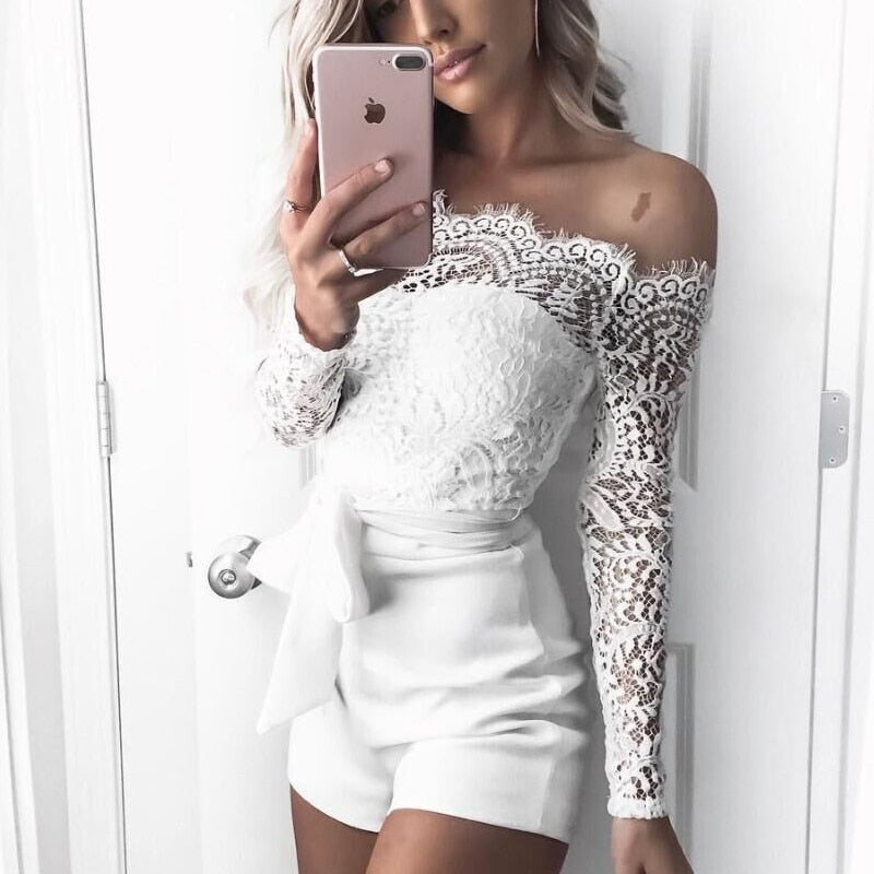 2018 Off shoulder Lace Rompers womens Summer conjoined female White Sexy jumpsuits women overalls bodysuit jumpsuits & rompers-cigauy