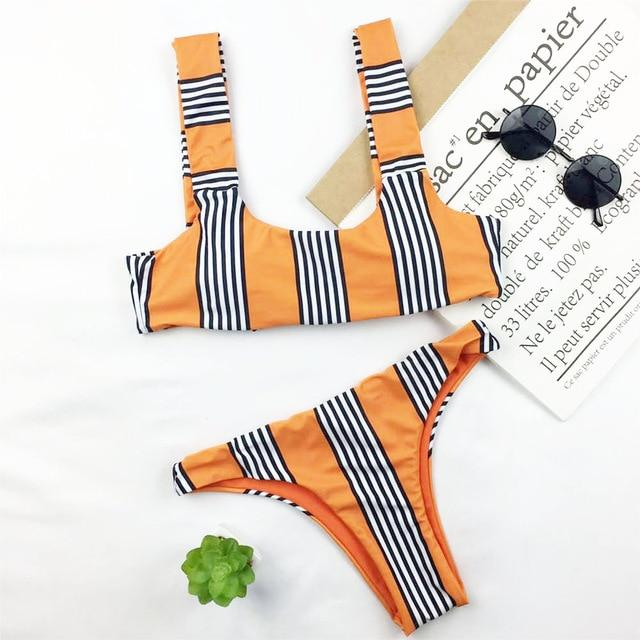 Sexy Brazilian Bikini Women Stripe Print Swimwear Push Up Swimsuit Micro Bikinis Thong Biquini Orange Bathing Suit Bow Beachwear-cigauy
