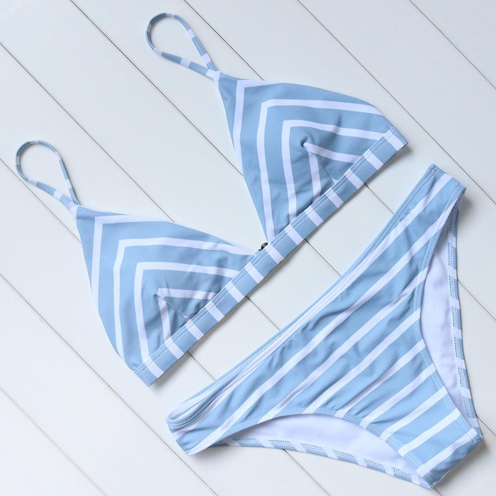 Bikini Striped Bikini Set 2018 Women Sexy Push Up Swimsuit Low Waist Swimwear Halter Bandage Swimming Suit Summer Bathing Suit-cigauy