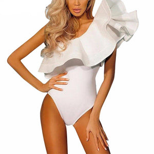Summer Beach Two Piece Body Suit Black White Overalls 2017 Sexy One Shoulder Bodysuit Ruffle Body Top Jumpsuit Combinaison Femme-cigauy