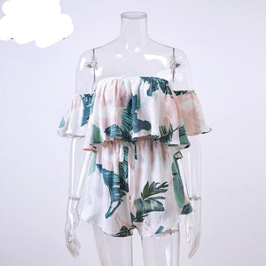 Lily Rosie Girl 2018 Floral Print Sexy Off Shoulder Women Jumpsuit Boho Summer Beach Short Romper Party Ruffles Playsuit Overall-cigauy